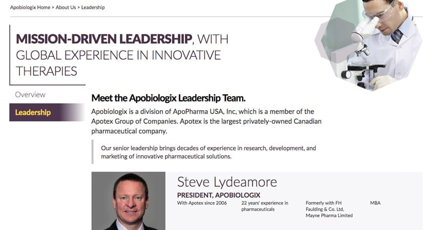 Apobiologix Leadership Team Page