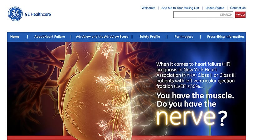 GE Healthcare AdreView Home Page