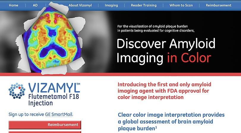 GE Healthcare Vizamyl Home Page