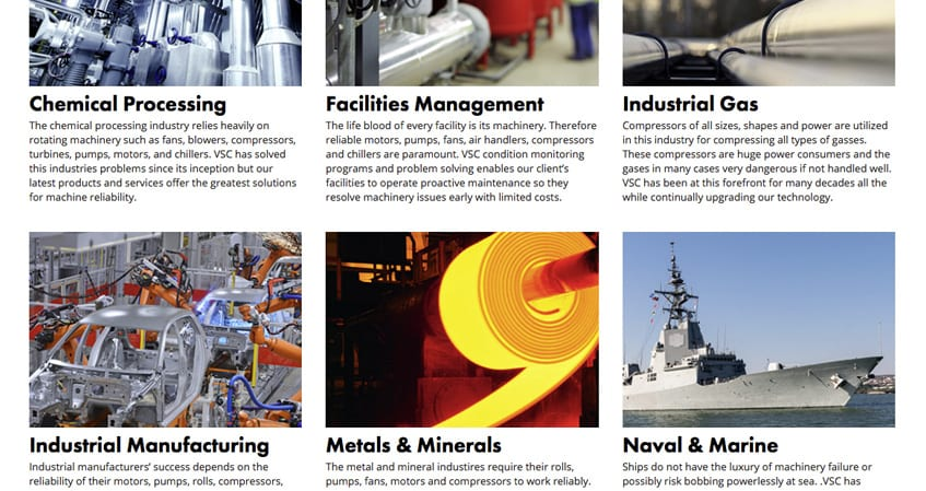 Vibration Specialty Corporation Industries Served Page